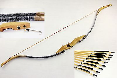 45lbs Adult Recurve Bow Archery Shooting Wooden Hunting Longbow + 12 wood arrows