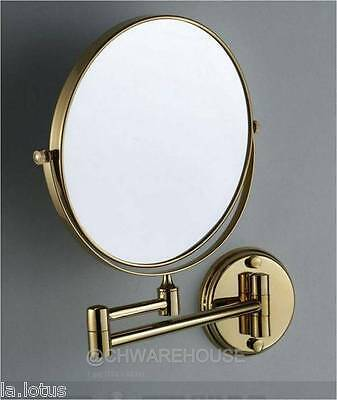 "Gold 8"" Magnifying Mirror For Bath, Makeup, Wall Mounted, Swing Arm, 7X, 2-Sided"