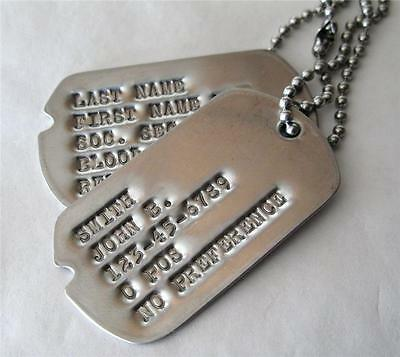 DOG TAGS NOTCHED MILITARY CUSTOM DEBOSSED 2 TAGS SAME AS GI (UP To 18 SPACES)!!