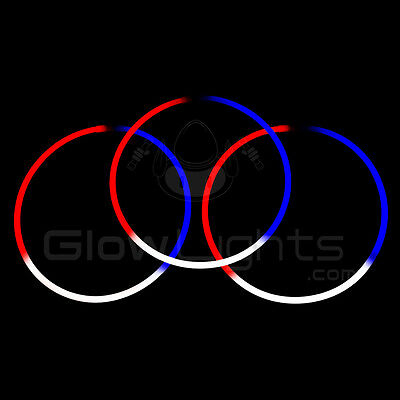 """(100) 22"""" Glow Light Sticks Necklaces - Red / White / Blue - 4Th Of July Party"""