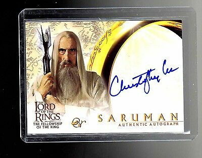 LOTR   FOTR   Christopher Lee  auto card