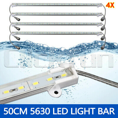4X 12V Waterproof 5630 Led Strip Lights Bars Boat Car Camping Caravan Cool White
