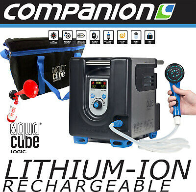 Companion Aquacube Logic Lithium 12V Battery Gas Hot Water Camp Shower New + B