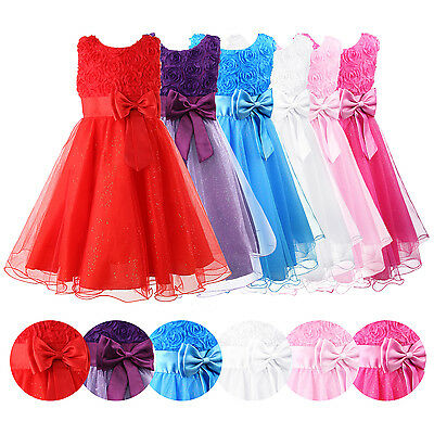 Girls Dress Flower Princess Sleeveless Formal Wedding Bridesmaid Prom Party UK