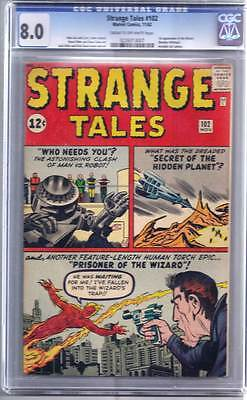 Strange Tales # 102  2nd solo Human Torch   CGC 8.0 scarce book !!