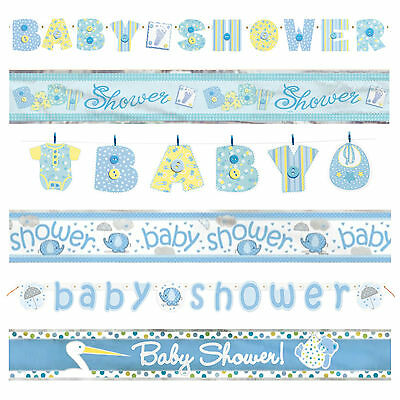 BABY SHOWER BANNERS - Blue Boy Decorations, Foil, Jointed & Clothesline Garlands