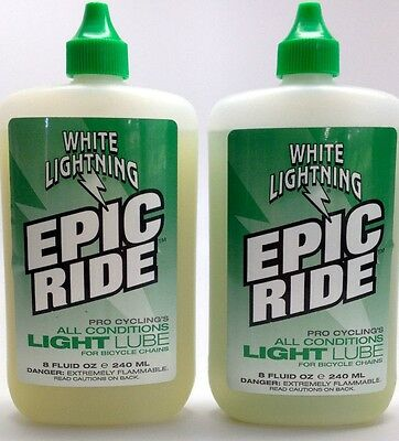 2 PACK 8 oz WHITE LIGHTNING BIKE BICYCLE EPIC RIDE CHAIN LUBE 8oz. TWO BOTTLES