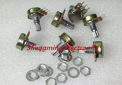 10PCS WH148 B10K Linear Potentiometer 15mm Shaft With Nuts And Washers