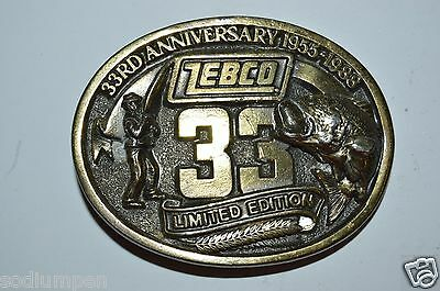 Vintage 1988 ZEBCO 33rd Year Bass Fishing Fisherman Solid Brass Tone Belt Buckle