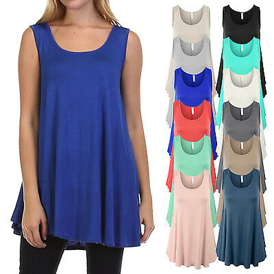 Women's Basic Solid Sleeveless Tank Tunic Top with Flare Hemline Made in USA SML