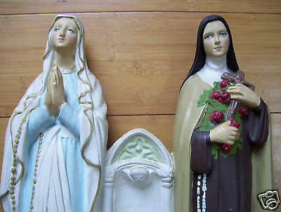 Holy Water Font Candle Holder Figurine Lady Of Lourdes & Saint Tressa 11.5X 11""