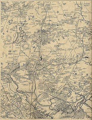 Chelsea Melrose Malden Everett Stoneham MA 1852 Map with Homeowners Names Shown