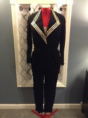 "Vintage ""S.L. Fashions"" Black Gold Pipeing Sailor Pleated Jumpsuit With Pockets"