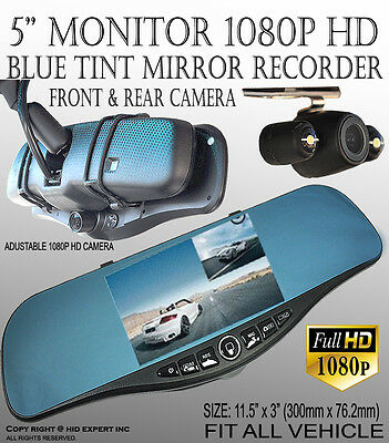 JDM 300mm Blue Tint REARVIEW MIRROR w/ 5 inch 1080p HD Front Back Camera #GB4