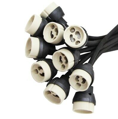 10 x GU10 Holder New Regulation Mains Bulb Connector 200mm Lead