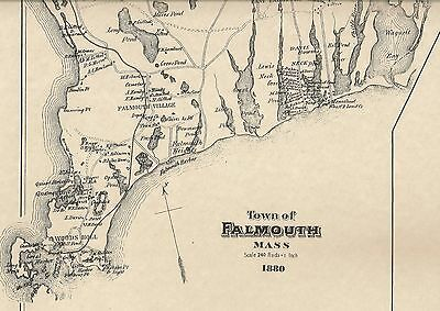 Falmouth Teaticket Davisville Woods Hole MA 1880 Map with Homeowners Names Shown