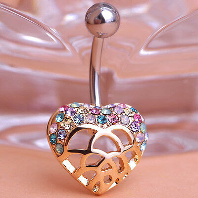 Navel Belly Bars Crystal Dangly Body Piercing Belly Button Ring gold heart