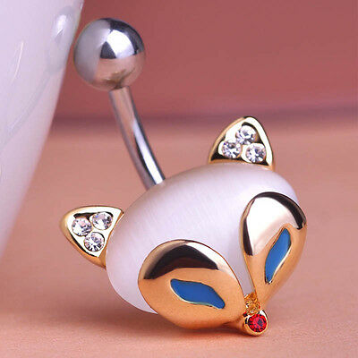 Navel Belly Bars Crystal Dangly Body Piercing Belly Button Ring gold plated fox