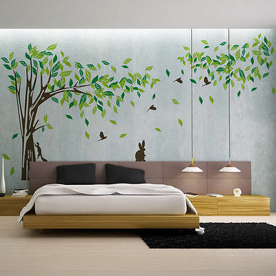 Extra Large Tree Squirrel Birds Home Decor TV Background Removable Wall Sticker