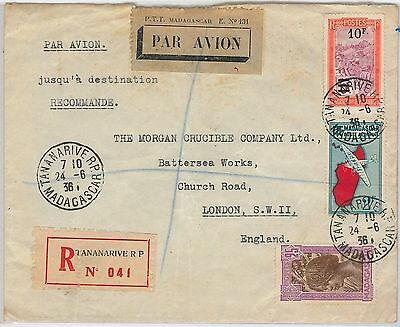 French Colonies: MADAGASCAR -  POSTAL HISTORY - REGISTERED COVER to LONDON 1936