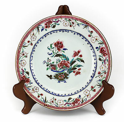 Chinese Export Décor Cabinet Plate c1820 Hand Painted Floral Raised Enamel Gilt