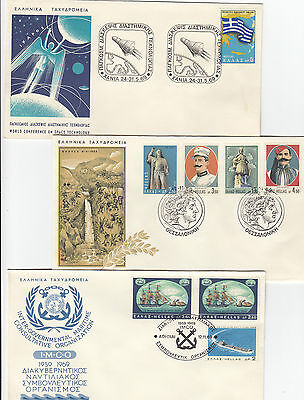 Stamps Greece 1969 & 71 group of 10 souvenir FDC's Greek space, ships, Europa