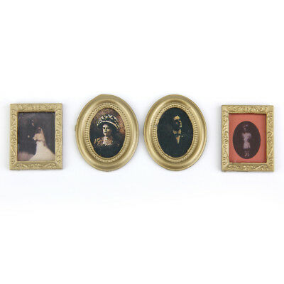 4Pcs 1/12 Dollhouse Miniature Accessories Gold Framed Pictures Art Paintings