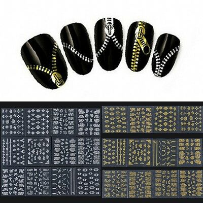 New 3D Nail Art Stickers Manicure Tips Mix Design Decals Water Transfer 12 Sheet