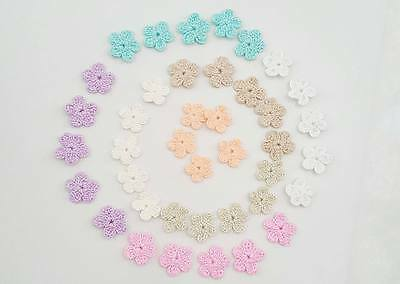 Lot of 40 Handmade Crochet Small Flower Appliques in Pastel Color Size 2 cm
