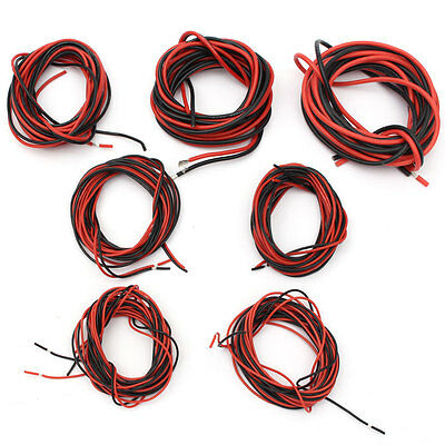2X3M 14/16/18/20/22/24/26Gauge AWG Silicone Rubber Wire Cable Red Black Flexible