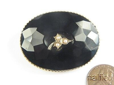 Antique Victorian Period 9K Gold Faceted Onyx Pearl Diamond Mourning Brooch