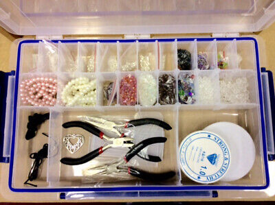 Large Deluxe Jewellery Making Kit - Box, Pearl Beads, Tools, Threads, Finding