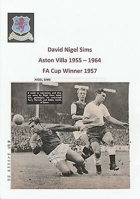 Nigel Sims Aston Villa 1955-1964 Original Hand Signed Magazine Cutting