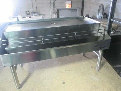 "42"" Stainless Steel Back Bar Glass Drainboard w/ Double Liquor/Syrup Speed Rail"