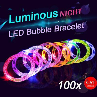 100X LED Bracelet Bubble Colour Changing Bangle Party Blinking Glow in the dark