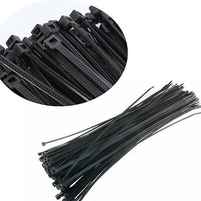 "100pcs 4"" 3x100mm Network Nylon Plastic Cable Wire Zip Tie Cord Strap Black"