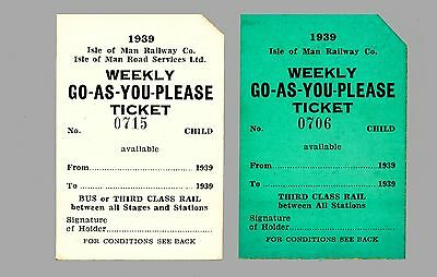 Isle of Man Rail & Bus WEEKLY TICKETS 1939 Series    (1939 dated)
