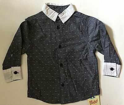Baby Boys Dark Grey Shirt with Light Grey Collar / Cuff detail