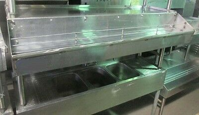5' Stainless Steel Back Bar Glass Drainboard w/ Double Liquor/Syrup Speed Rail