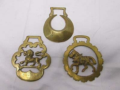 Vintage Brass Horse Chest Badge Fob Equestrian Lion War Horse and Crescent