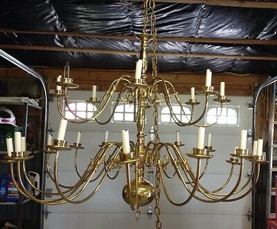 Vintage Solid Brass Chandelier 2 Tier 24 Bulb Colonial Style Chandelier Large 4'