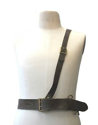 Sam Brown Real Leather Shoulder Belt WW2 Type Genuine Military Brass Components