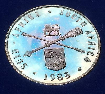 1985  South Africa 1 Rand KM# 116 Silver Proof SAM Cased Electro Blue Toning.