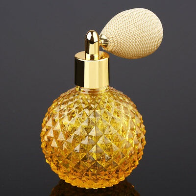 Vintage Crystal Perfume Bottle Yellow Short Spray Atomizer Refillable Glass100ml