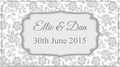 65 x Personalised Mini Stickers Wedding Frame Floral Grey Shabby Vintage Labels