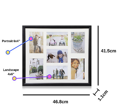 Multi Aperture 7 Photos (6''X4')  Picture Frame Holds Black,Pink/White For Gift