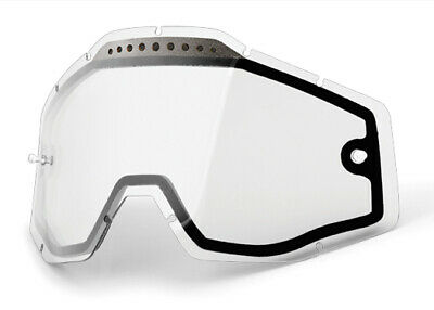 100% MX Motocross Vented Dual Pane Lens Racecraft/Accuri/Strata Goggles (Clear)