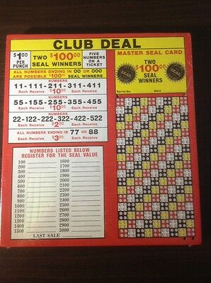 $1.00 CLUB DEAL Punch Card GAME Board Play Raffle Gambling NEW 612 Hole Money