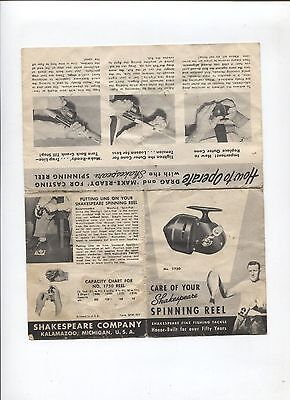 N°9036 / dépliant technique care of your shakspeare spinning reel  USA