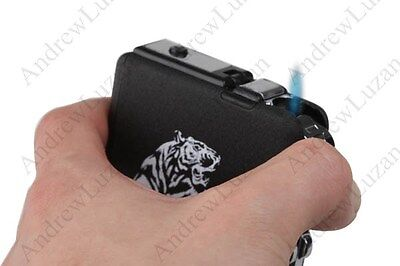 Cigarette Case Black Metal with Windproof Butane Jet Flame Torch Lighter